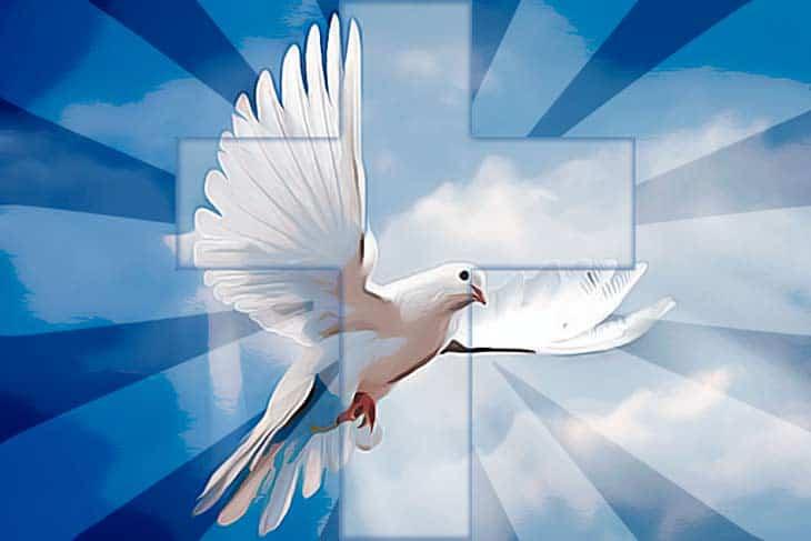 Голубь на фоне креста