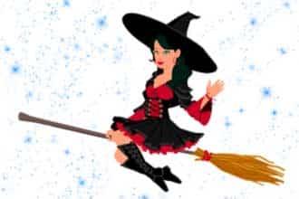 красивая ведьма на метле